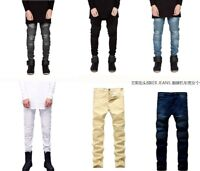 Men's Designed Straight Slim Fit Biker Jeans Pencil Pants Skinny Denim Trousers