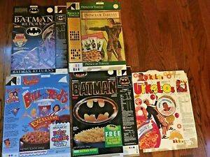 5 Vtg Cereal Boxes Ralatin Batman Urkel-os Prince Of Thieves Returns Bill & Ted