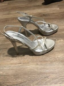 GIANNI BINI Silver Leather Strappy Shoes - 8.5 M