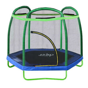 Clevr 7 Ft. Trampoline Bounce Jump Safety Enclosure Net W/ Spring Pad Outdoor