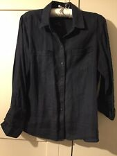 Marks And Spencer Navy Linen Shirt Size 14
