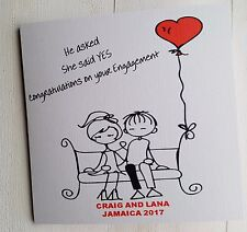 PERSONALISED CUTE STICK COUPLE ENGAGEMENT CARD - FUN BLACK AND WHITE DESIGN