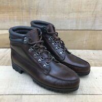 HHB Mens Ankle Boots Brown Lace Up Padded Collar Moc Toe Vintage 9.5 N