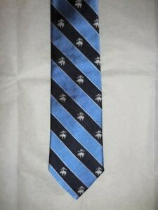 Brooks Brothers All Silk NWT Tie  Blue with Navy Stripes & Woven Golden Fleeces