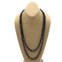 """Vintage 56""""  Black Glass Bead String Strand Fashion Necklace Spring Ring Clasp"""
