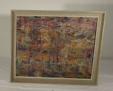 Vintage Mid Century Modern Abstract Painting Framed Splash Splatter Pollock