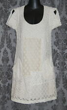 Womens size 6 cream lace overlay shift dress made by WHITE BY CHARCOAL