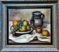 Marcel Roche Nature morte pommes & raisin 1920 huile /toile proche Cézanne cadre