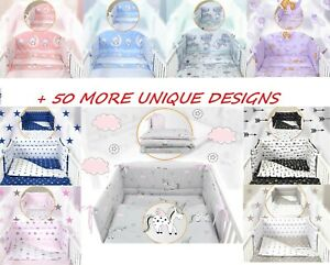 3 or 5 pcs BABY BEDDING SET - fit Cot 120x60cm or Cot Bed 140x70  +50 DESIGNS
