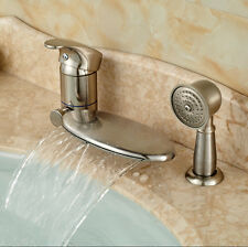 Waterfall Spout Bathtub Faucet Set Deck Mount Bath Tub Mixer Tap Brushed Nickel