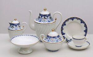 Coffee set 6/22 pcs COBALT FRIEZE, Lomonosov / Imperial Porcelain, Russia
