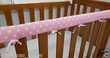 Baby Cot Crib Teething Rail Cover Spots on Baby Pink 100% Cotton ***REDUCED***