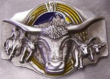 Pewter Belt Buckle Rodeo Texas Longhorn Roping NEW