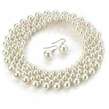 Chic White Pearls Wide Statement Elasticised Stretch Choker Necklace Earring Set