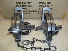 2 New Duke # 3 Offset Coil Spring Traps 0501 Bobcat Coyote Lynx Trapping