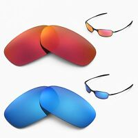 New Walleva Polarized Fire Red + Ice Blue Lenses For Oakley Square Wire 2.0