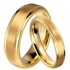 Lote 2 anillos / alianzas de boda en Tungsteno con recubrimiento oro IP