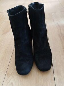 Karen Miller Women's Black Suede Ankle Boots Uk Size 4 EU 37 Heel 7cm
