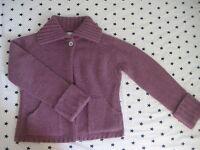 Sleeping on Snow Anthropologie merino wool alpaca SWEATER purple cardigan sz S