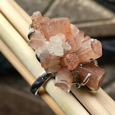 Natural Aragonite Crystal Star 925 Solid Sterling Silver Cluster Ring sz 8.5
