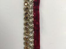 ATTRACTIVE BRAIDED MAROON & GOLD VALOUR CRYSTALS LACE TRIM   - SOLD by METRE