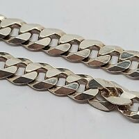 "Sterling silver solid 925 bracelet chain bangle Az961-11  9"" long mens curb"