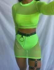 Neon Fishnet Two Piece Green Skirt Crop Top Mesh Mini Skirt Festival Outfit