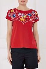 BNWT NEXT Ladies Red Short Sleeved Embroidered Floral Top Size 22
