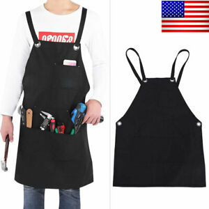 Waxed Canvas Shop Apron Heavy Duty Work Apron with Tool Pockets Waterproof