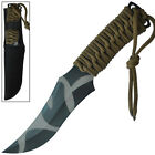Urban Tiger Camo Full Tang Fixed Blade Outdoor Hunting Camping Wilderness Knife