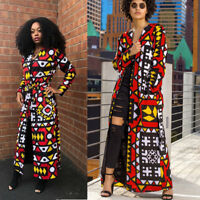 Women Long Sleeves Cute Print Casual Club Party Long Outwear Coat with Belt