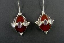 Carnelian and Amethyst Stones Large Sterling Silver 925 Drop Piereced EARRINGS