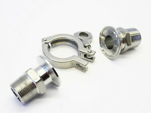 "Dixon 304 Stainless Steel 1""TO 1-1/2"" Sanitary Clamp w/ Male Adapters"