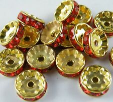 100pcs Silver/Gold Plated Red/Coffee/White Crystal Spacers 10mm/12mm Jewelry DIY