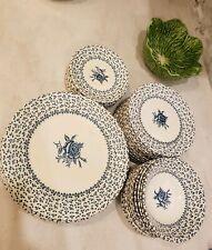 "Royal Victoria Blue ""Rose Bouquet"" Ironstone Dessert Plates"