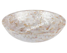 """12"""" White Mother Of Pearl Wash Basin/Sink with Living Room Decor Gifts"""