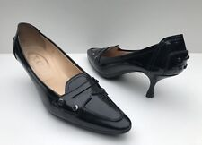 """TOD""""S Size 8 Black Patent Leather Kitten Heel Penny Loafer Style Pumps"""