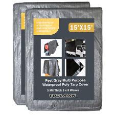 2PCS Toolman 15 x 15 Feet Gray  Multi Purpose Waterproof Tarp Cover 5Mil Thick