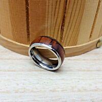 8mm Titanium Genuine Hawaiian Koa Wood Inlay Titanium Wedding Band Ring