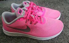 Euc Womens Older Girls Pink - Grey Nike Free RN run size 5 EU 38 running shoes