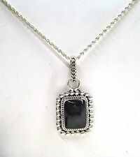 Black Onyx Cabachon Rectangular Bezel Set Pendant in Sterling Silver on Chain