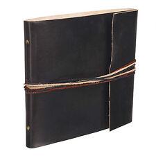 Fair Trade Handmade 3 String Black Leather Photo Album Scrapbook 2nd Quality