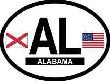 ALABAMA STATE OVAL REFELCTIVE LAMINATED CAR STICKER NEW
