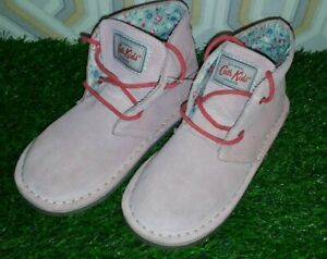 Cath Kidston Boots Suede Pink Desert Lace Up Shoes/boots - girls size 1 uk vgc
