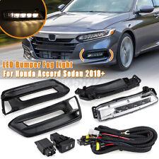 LED Front Fog Light Lamp + Switch Bezel Kit For Honda Accord Sedan 2018-2020 USA