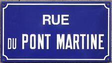 Old French enamel street sign plaque road name bridge Pont Martine Etampes 1970s