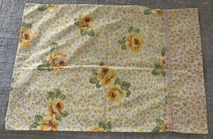 Vintage Monticello Pillow Case Yellow Roses Lace Trim Standard Sz No-Iron Percal