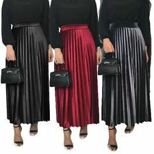 New Women Pleated Skirt Velvet High Elastic Waist Long Maxi Skirt A-Line Dress