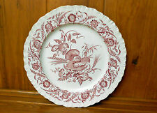 Wedgwood Cornflower Crimson Red Pink DINNER PLATE Floral Scalloped Beautiful