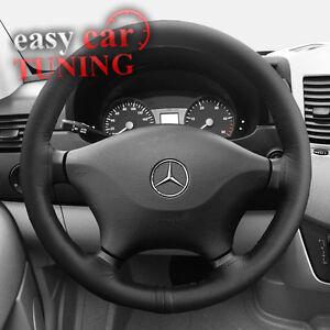 For Mercedes Sprinter 06+ black genuine Italian leather steering wheel cover